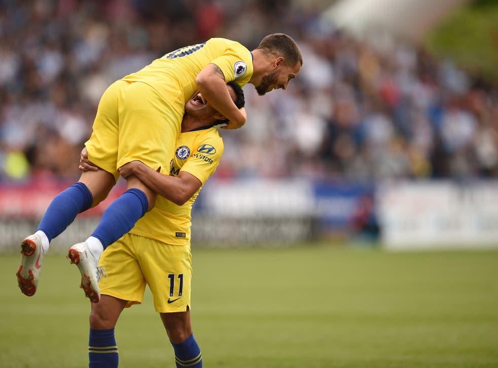 Eden Hazard congratulates third goalscorer Pedro