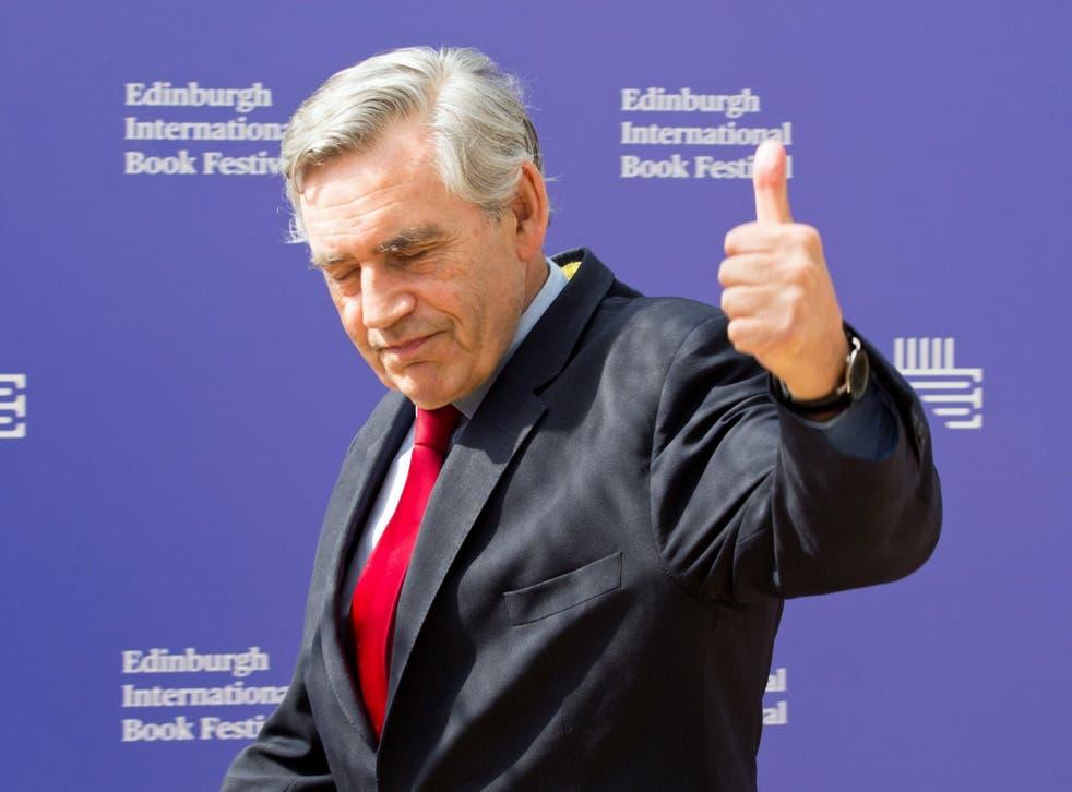Former prime minister Gordon Brown appearing at the Edinburgh International Book Festival
