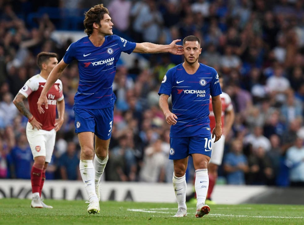 Eden Hazard set-up the winner for Marcos Alonso to see off Arsenal