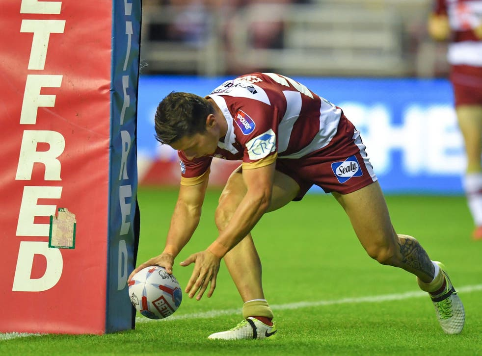 Morgan Escare scored twice for Wigan against his former side