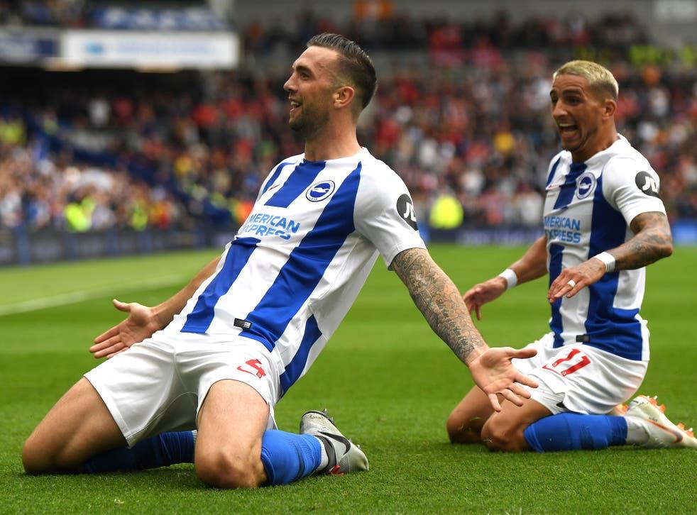 Shane Duffy celebrates scoring Brighton's second