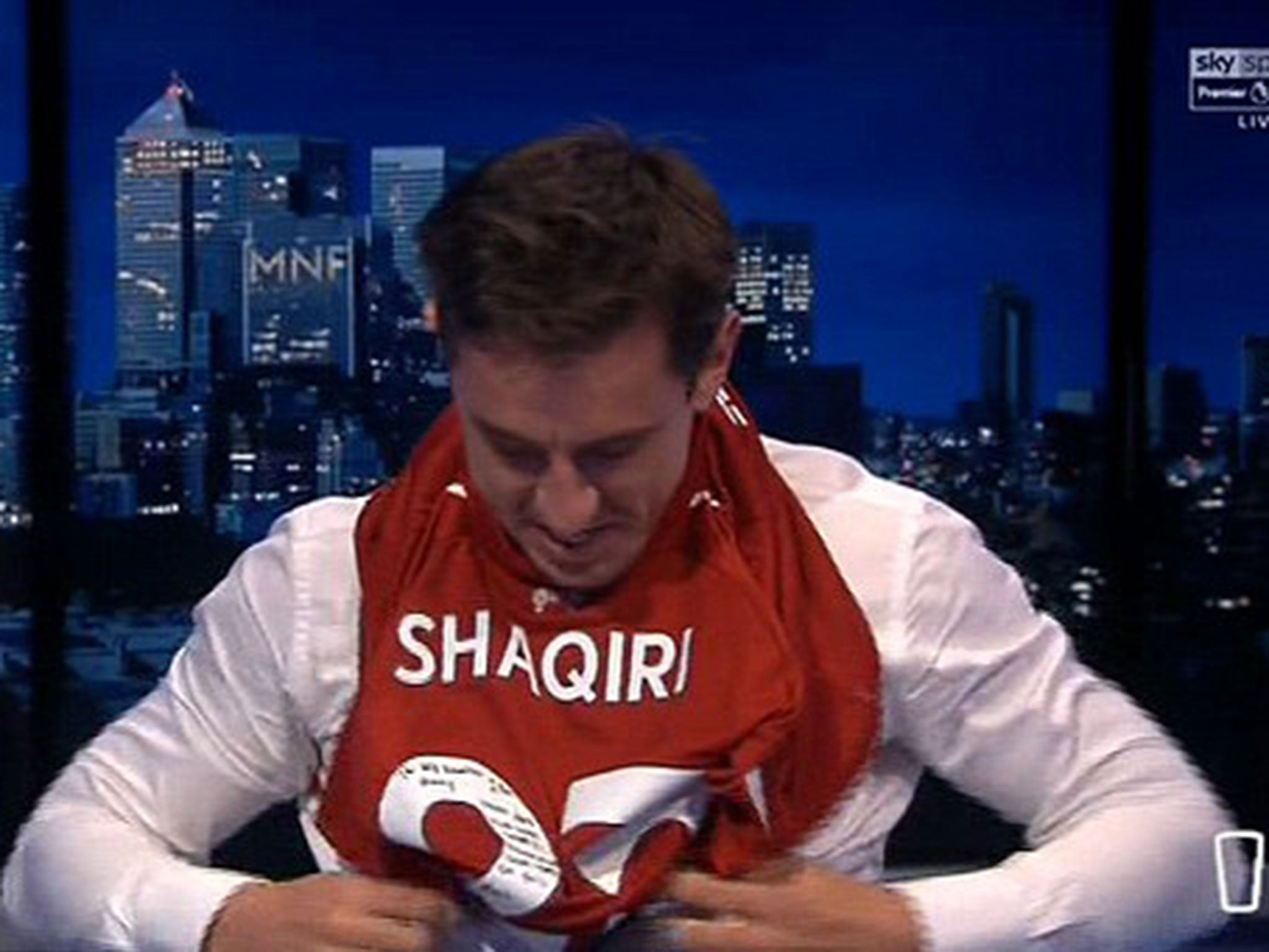 adb165d03fa Gary Neville and Jamie Carragher wear Liverpool and Manchester United shirts  as Monday Night Football returns
