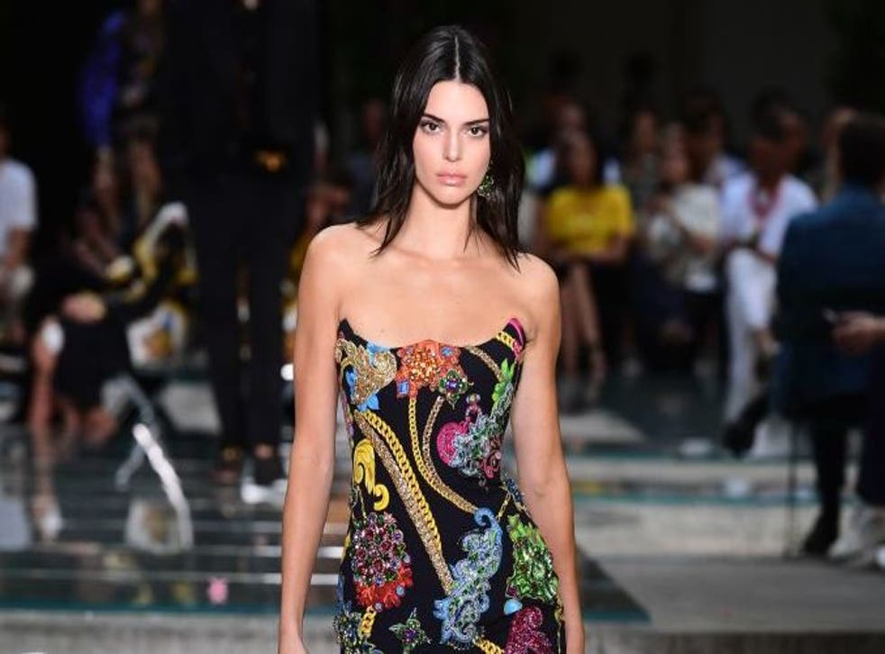 Kendall Jenner walking for Versace in June 2018