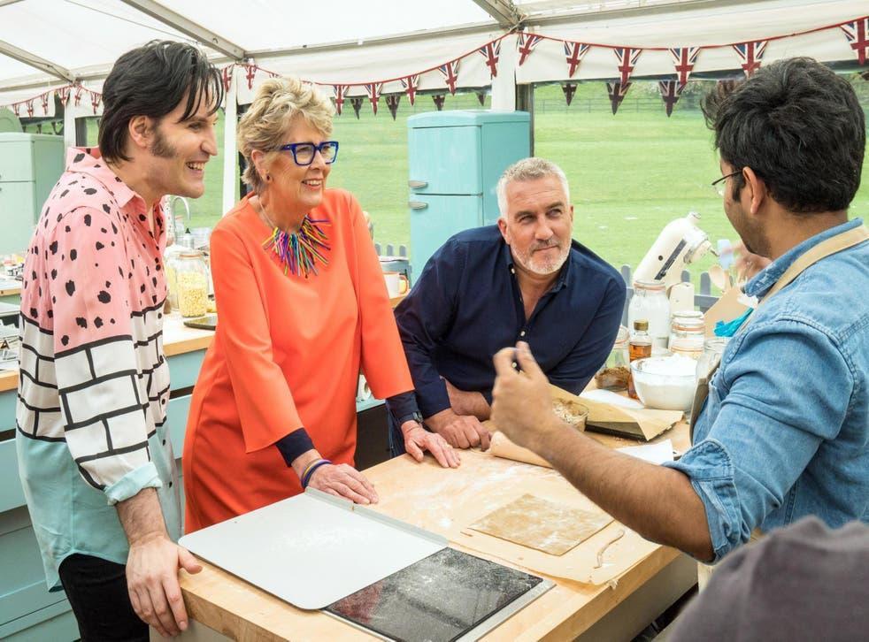 Noel, Prue and Paul on Bake Off