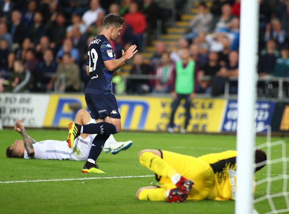 Pablo Hernandez of Leeds United runs off in celebration