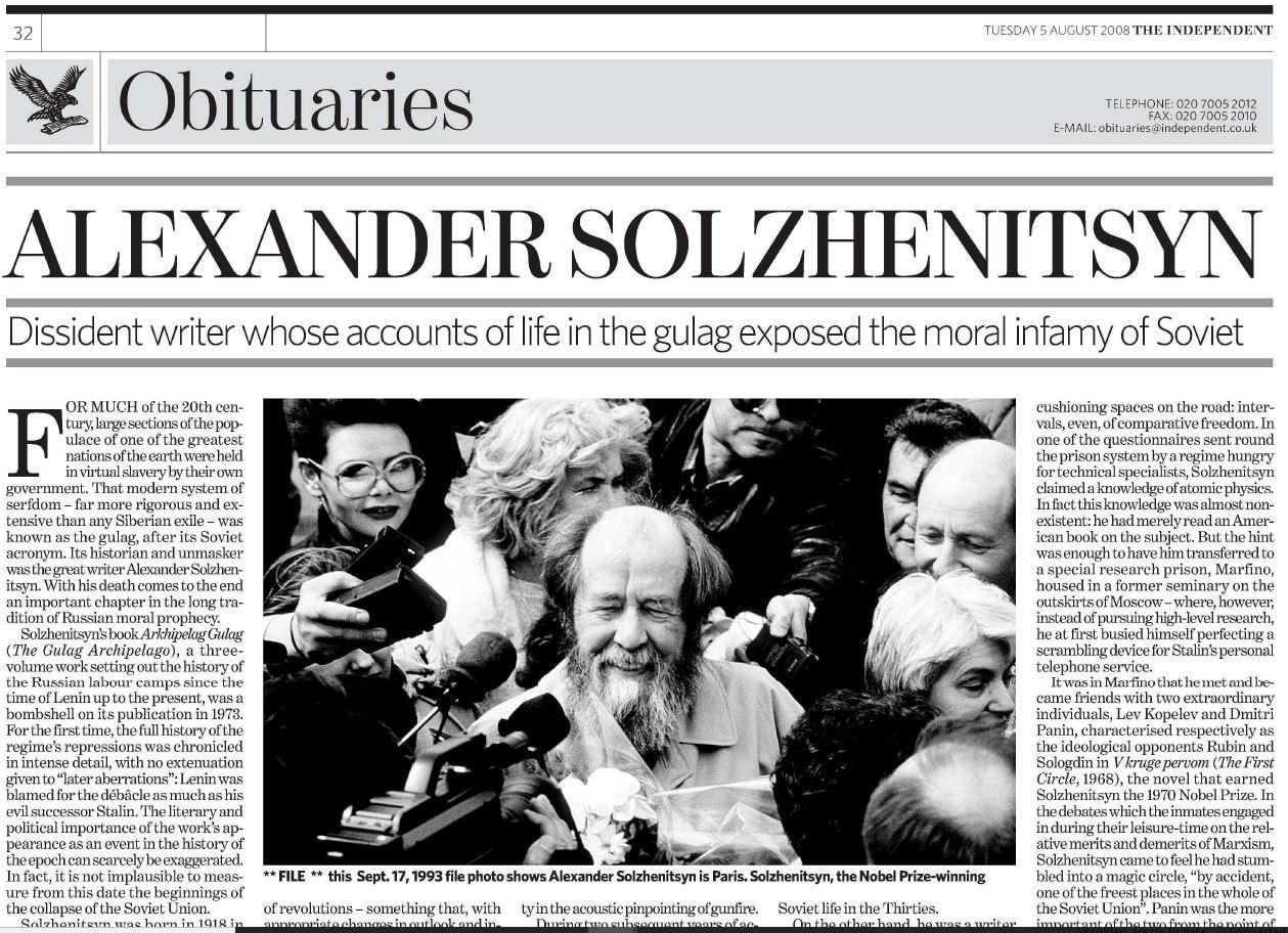 What works of Solzhenitsyn were read by you
