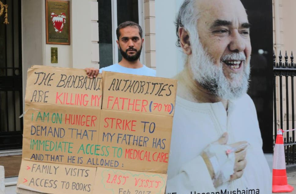 Ali Mushaima says his doctor is concerned by his rapid weight loss but he has now vowed to stop intaking sugars and salts next week if the Bahraini authorities do not improve his father's conditions