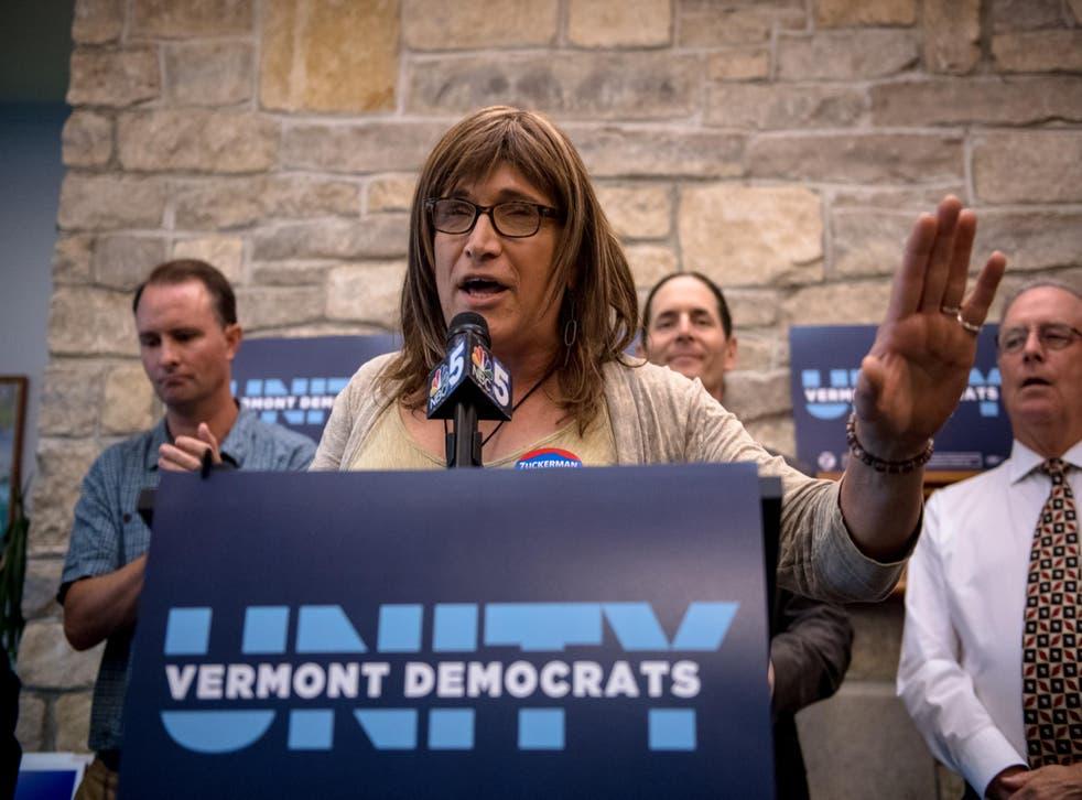 Vermont Democratic gubernatorial nominee Christine Hallquist speaks at a Vermont Democratic Unity Rally