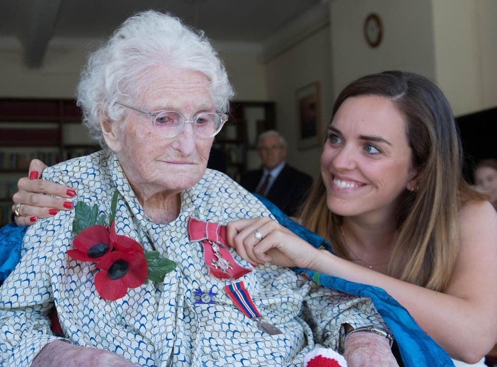 Rosemary Powell, pictured with granddaughter Celia Speller, helped with the Poppy Appeal for close to a century