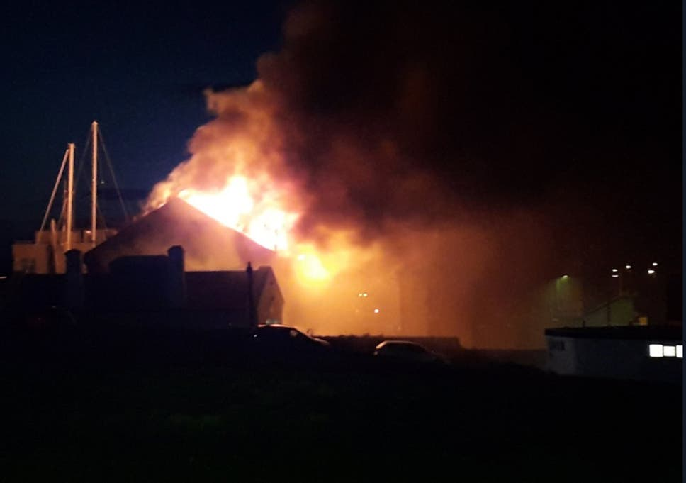 huge fire engulfs holyhead marina months after storm damage the