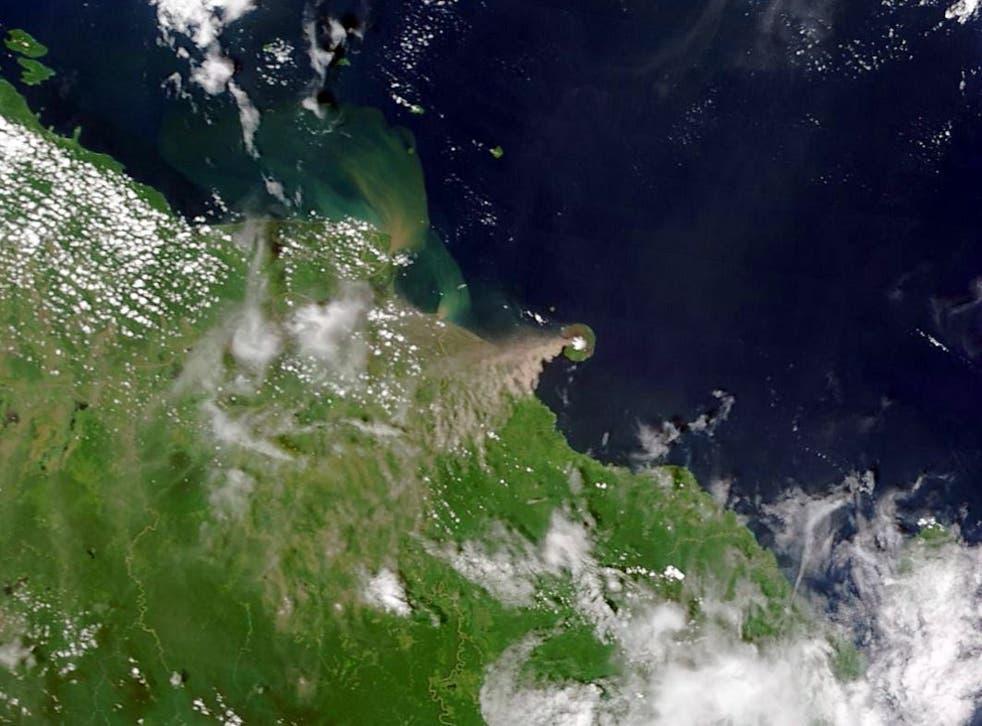 Satellite image of Manam Volcano .