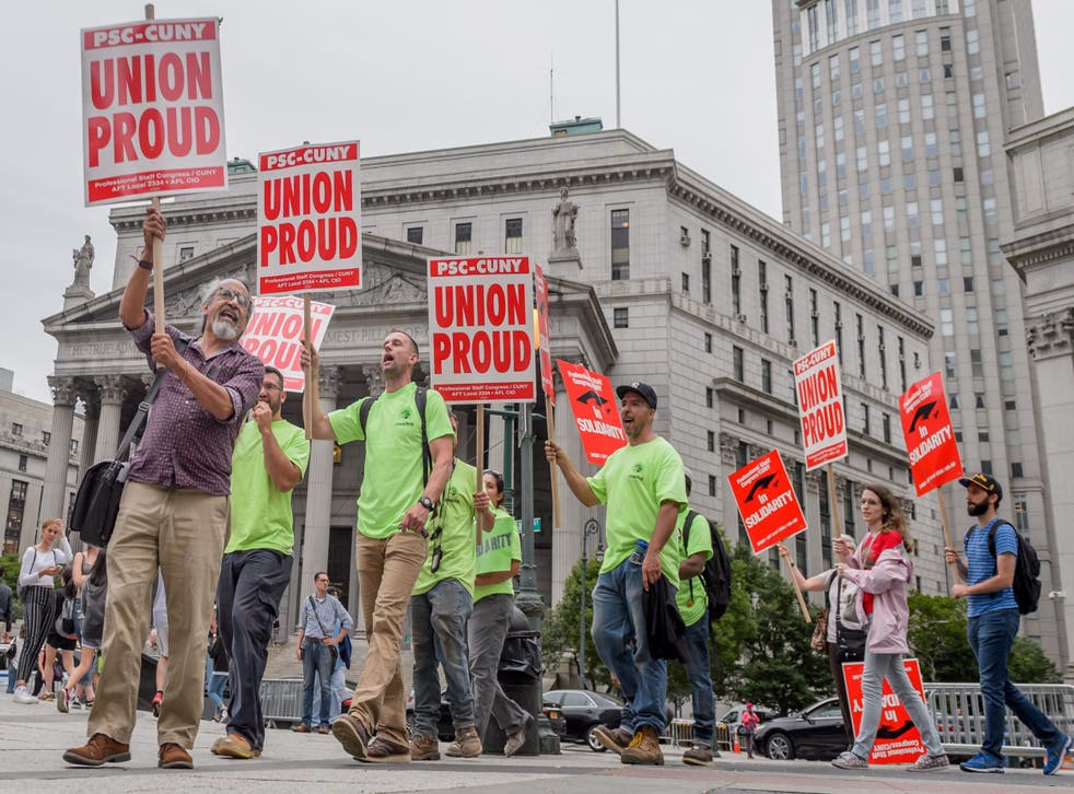 Union activists held an emergency protest in Foley Square in Manhattan after a previous Supreme Court decision on unions