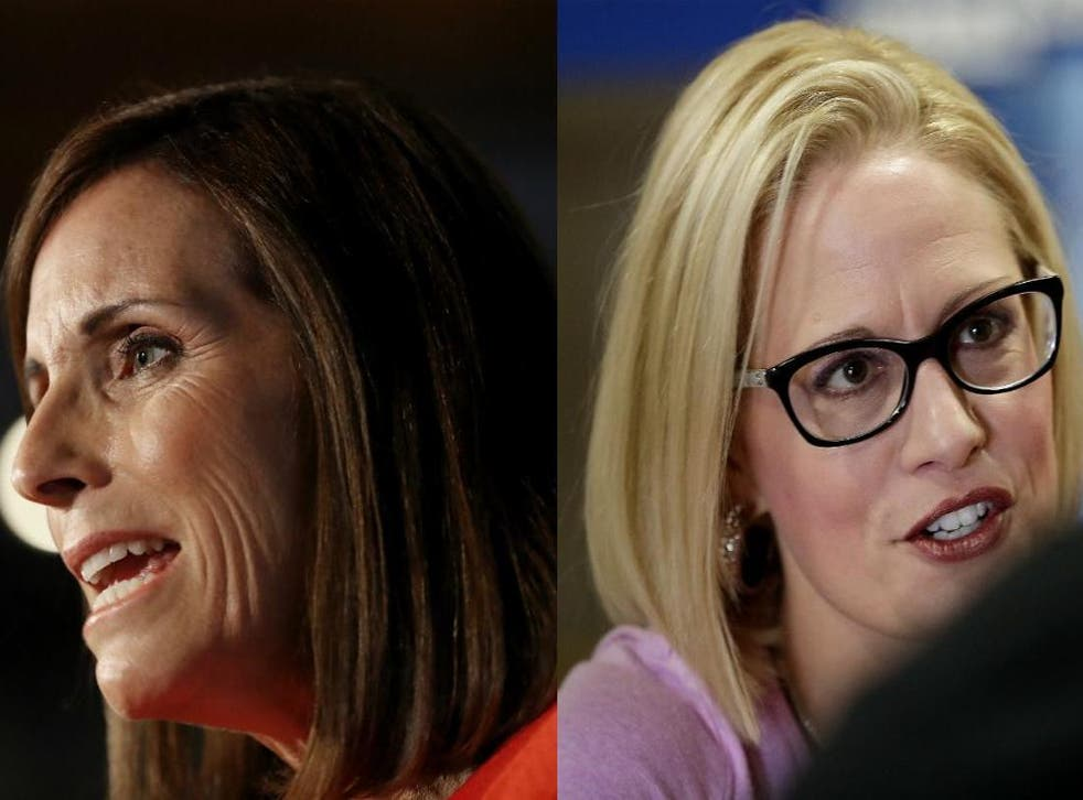 Martha McSally and Kyrsten Sinema, the Republican and Democratic senatorial candidates in Arizona, will face on in November's 2018 midterm elections