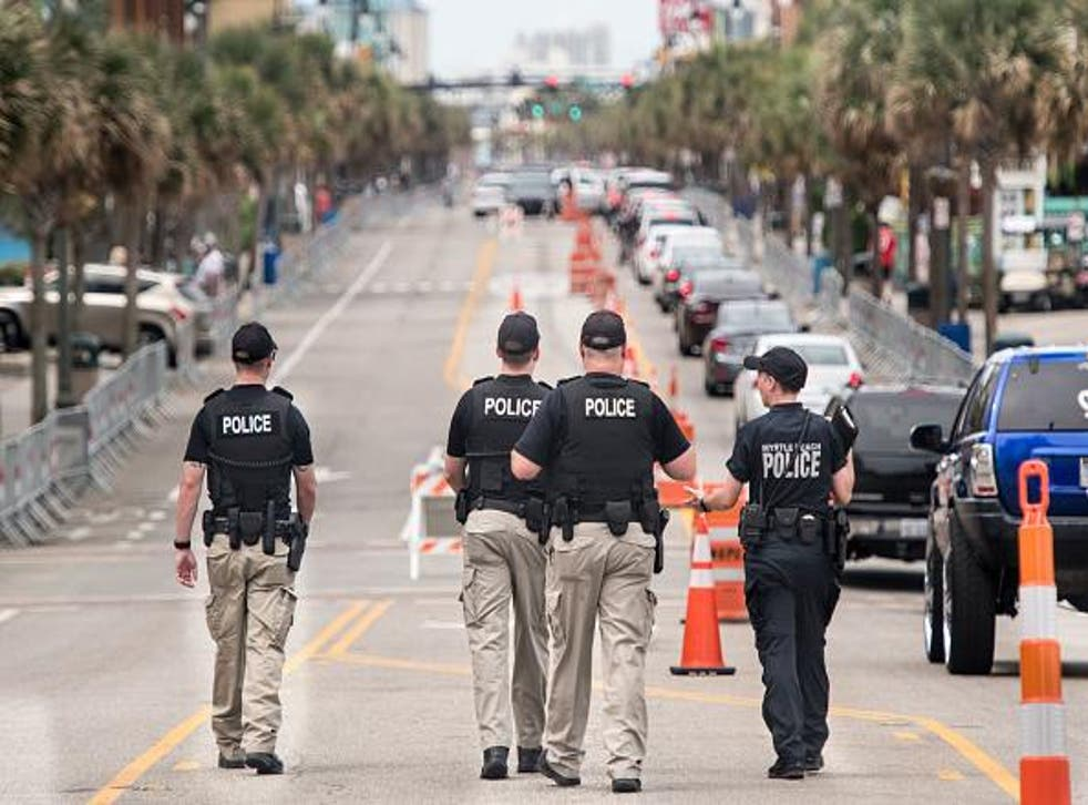 Law enforcement patrol N. Ocean Blvd. on 27 May 2018 in Myrtle Beach, South Carolina