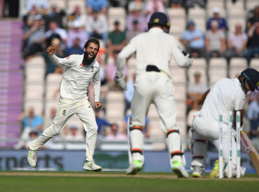 Moeen Ali celebrates after bowling Ravi Ashwin