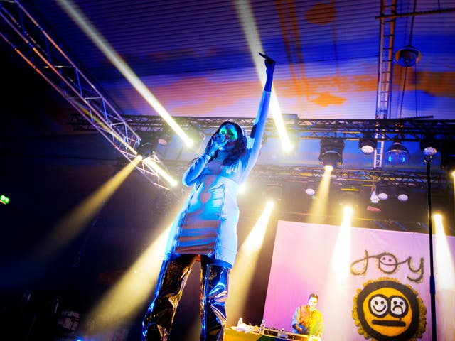 An artist performs at The Statement 'women only' music festival in Sweden