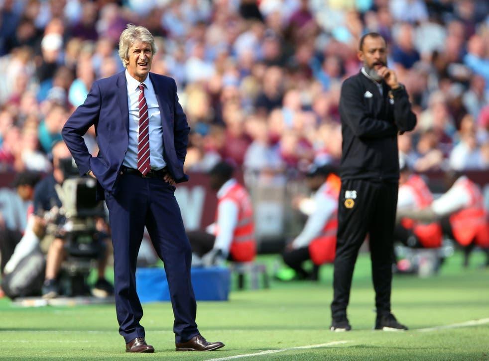 West Ham United manager Manuel Pellegrini and Wolverhampton Wanderers manager Nuno Espirito Santo