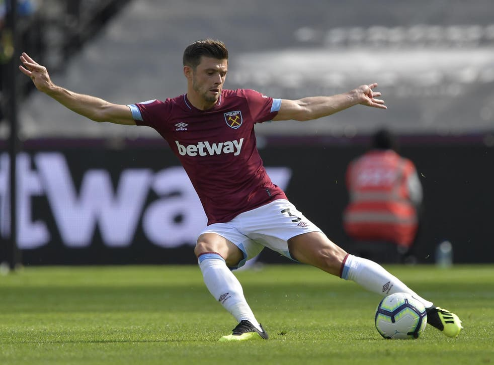 Aaron Cresswell in action for West Ham against Wolves
