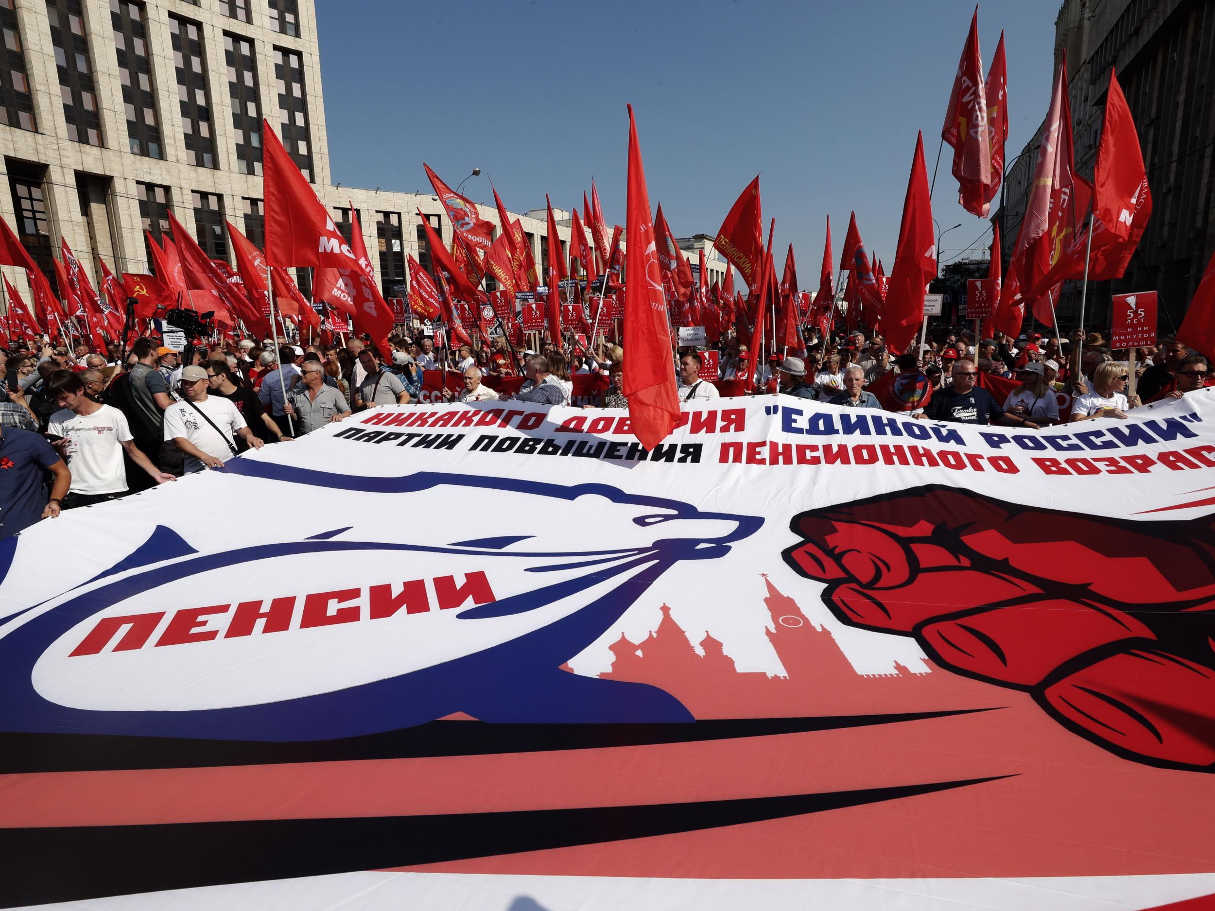 Russia protests: Thousands rally against change in pension age despite Putin concession