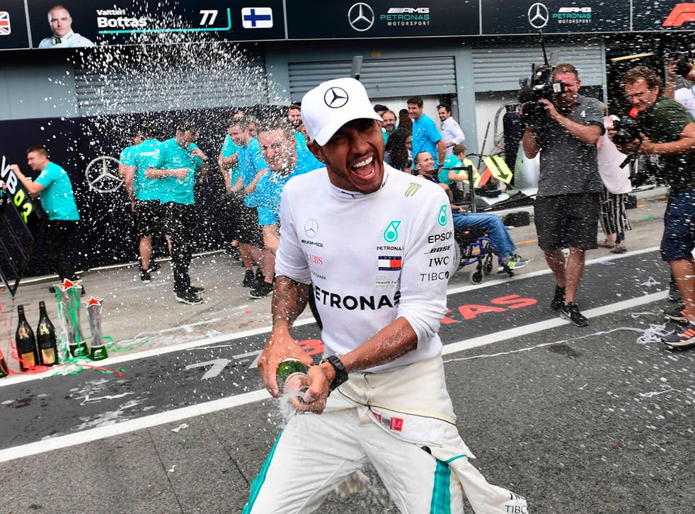 Hamilton celebrated his Monza victory after upsetting the home fans