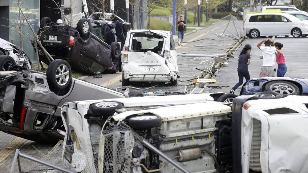 Typhoon Jebi: Fuel tanker smashes into bridge as Typhoon