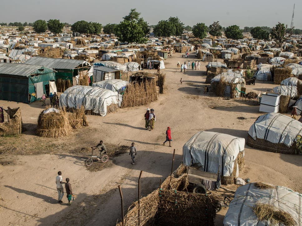 A view of the Muna camp for displaced persons, located just outside of Maiduguri, Nigeria. Today the camp is estimated to shelter approximately 24,000 displaced people