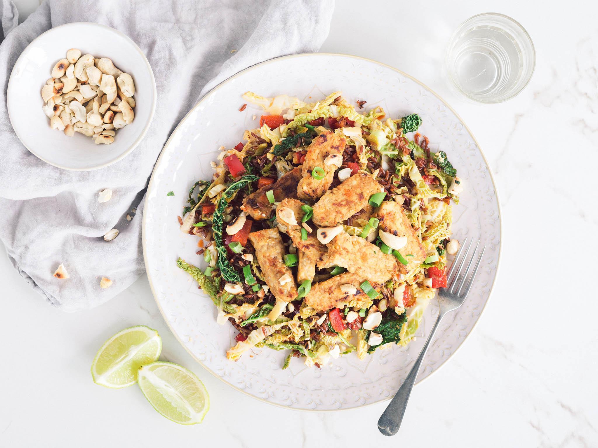 How to make nasi goreng with ginger tofu and red rice 1