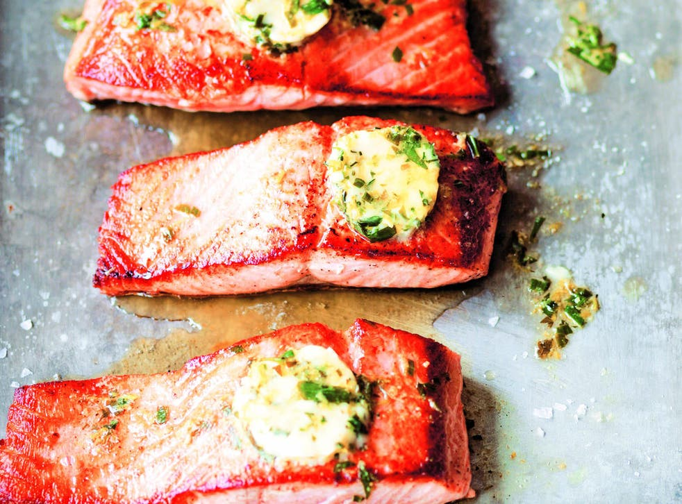 This salted salmon with tarragon butter recipe from the book uses old traditions of salting fish to preserve it, but here its salted just enough to ensure the umami tastes