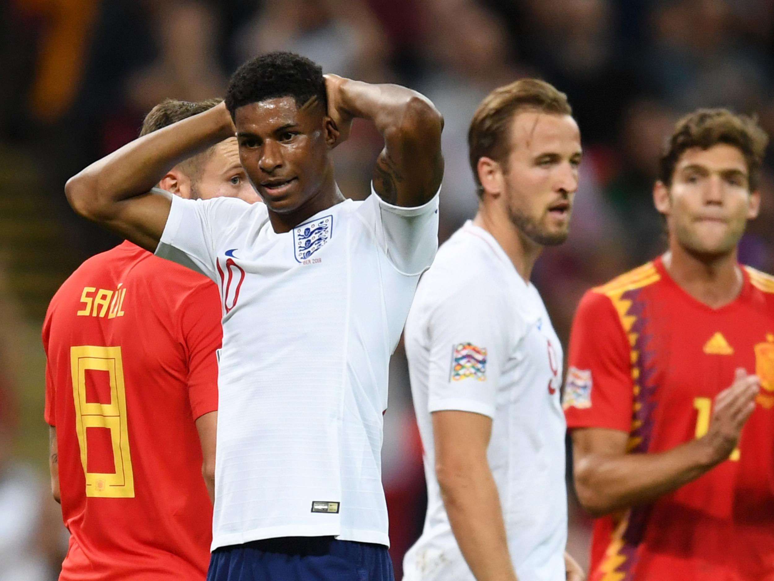 d47f3613ad6 England vs Spain: Luke Shaw and Marcus Rashford impress as familiar World  Cup shortcomings haunt Three Lions | The Independent