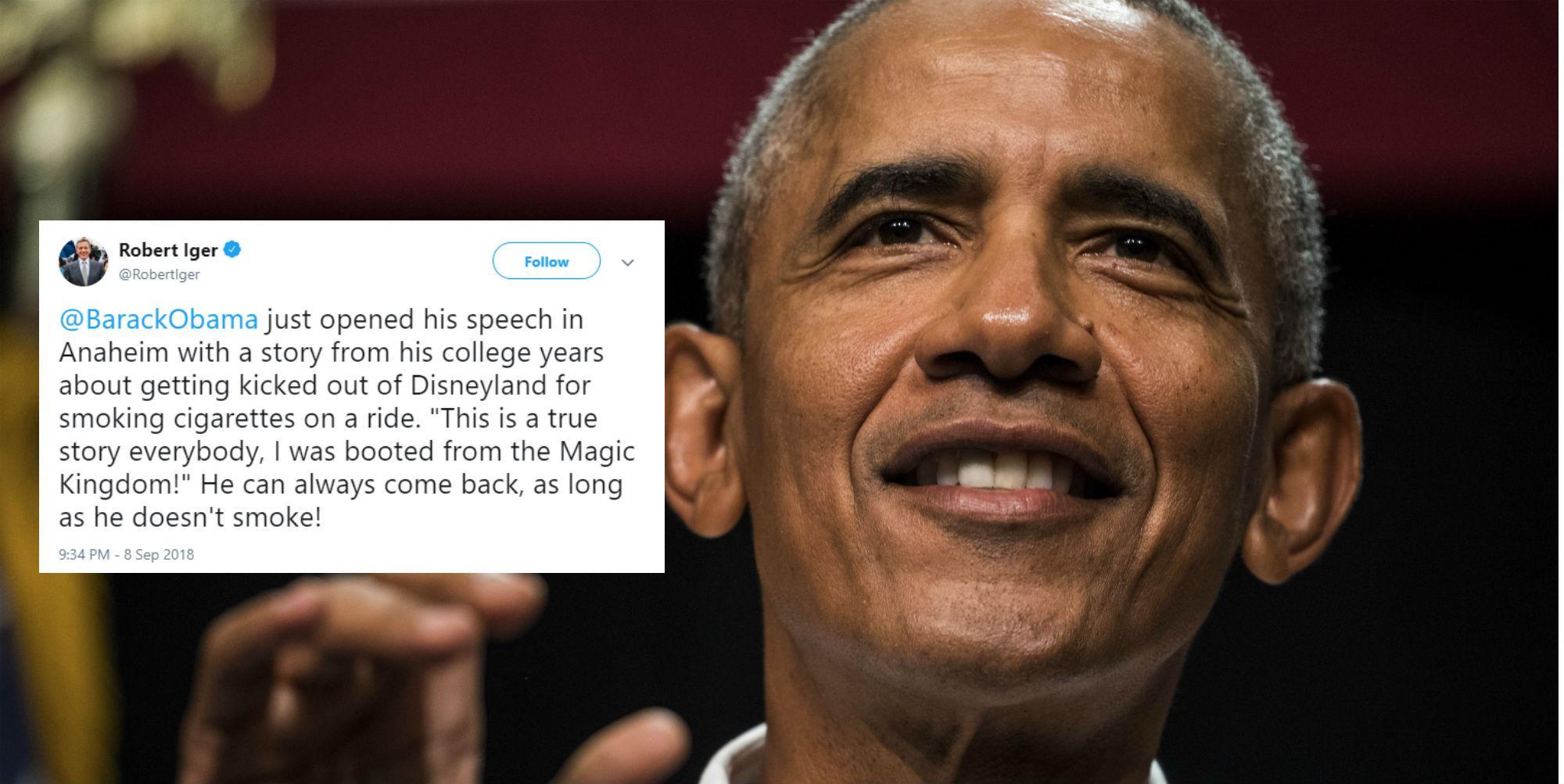Barack Obama reveals he once got kicked out of Disneyland for