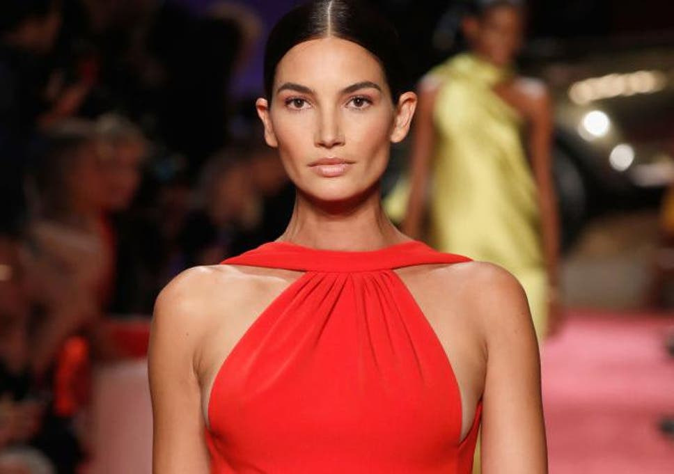 Supermodel Lily Aldridge walks Brandon Maxwell s runway show while ... 3f64b4c8bc07