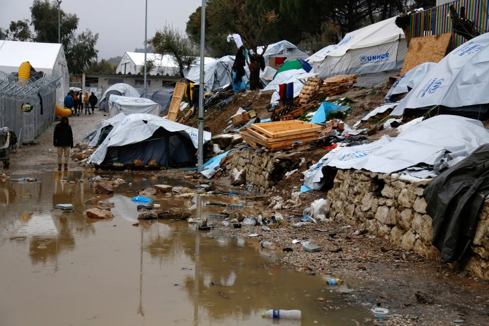 Conditions at the Moria refugee camp on Lesbos in January 2017