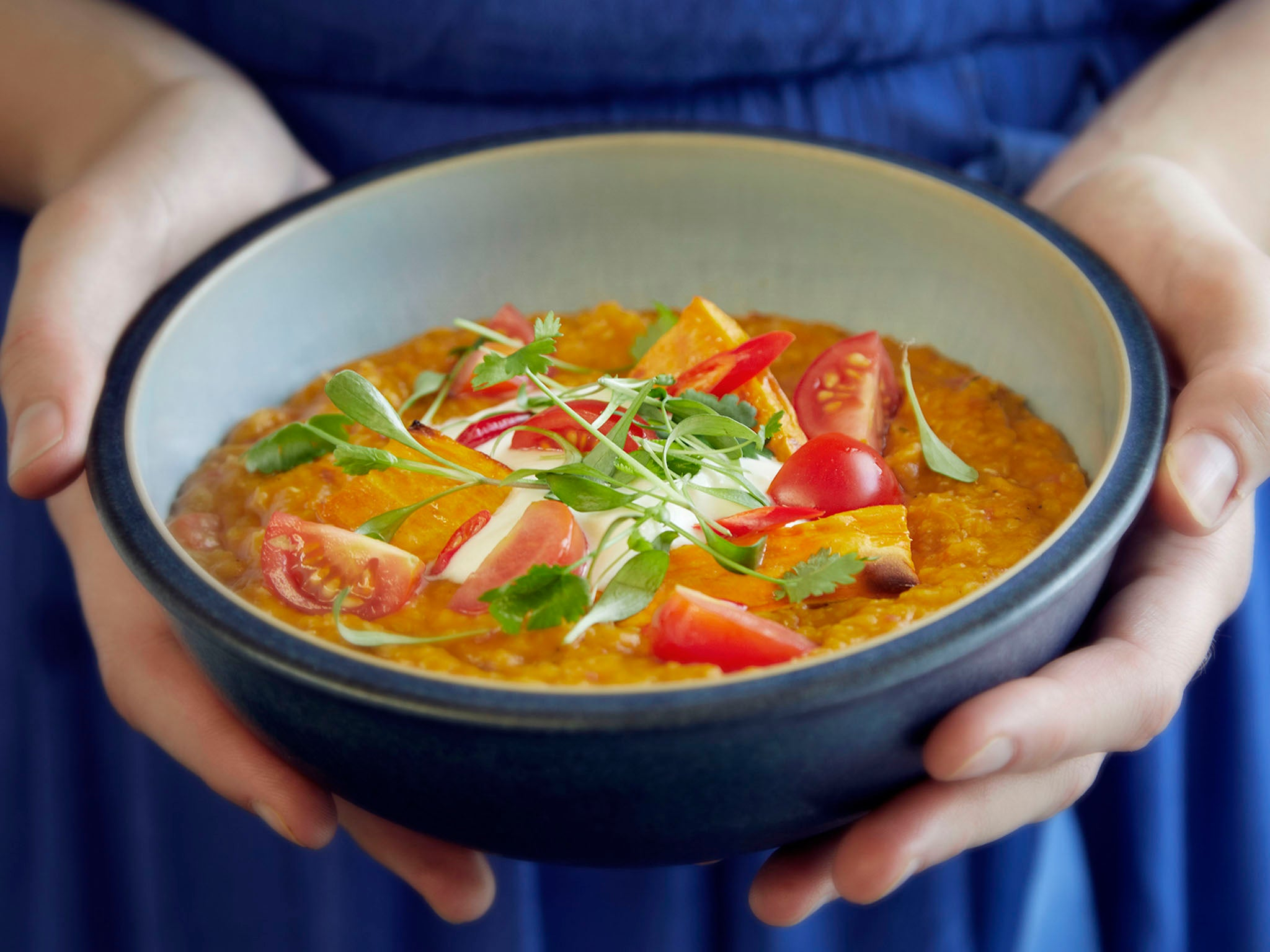 How to make sweet potato, coconut and tomato dahl