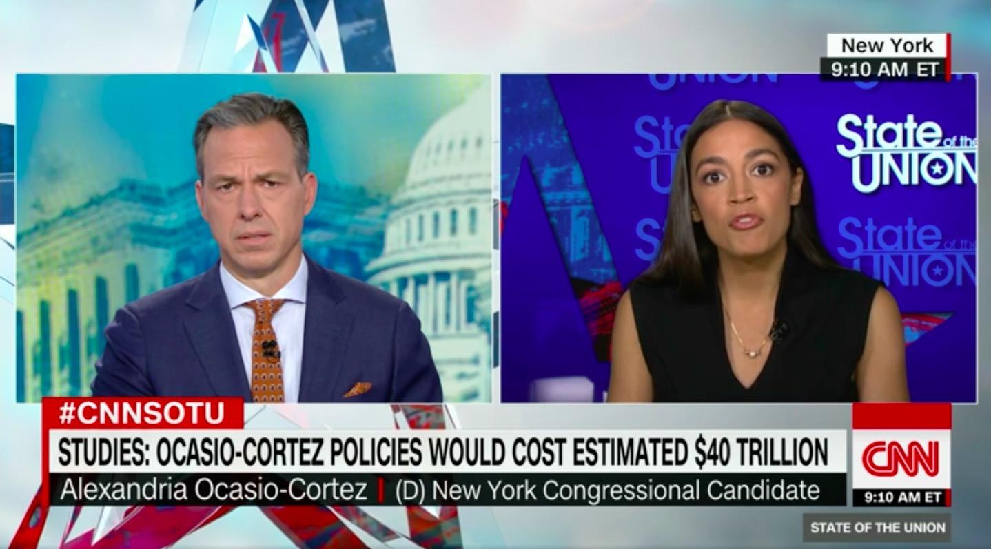 CNN World News Picture: Alexandria Ocasio-Cortez Spars With Jake Tapper Over $40