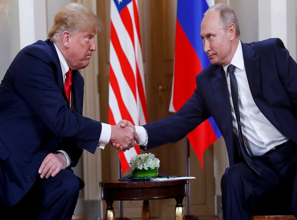 Donald Trump and Vladimir Putin meeting in Helsinki in July 2018