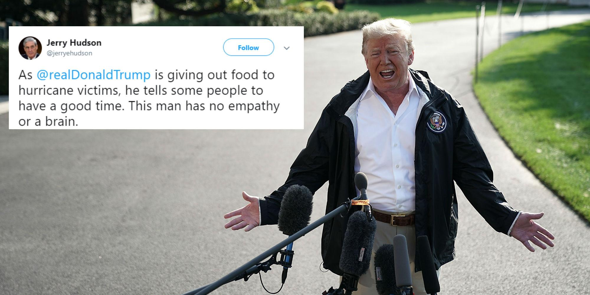 Watch Trump jokes windy weather from Hurricane Florence and Michael is proof his hair is real video