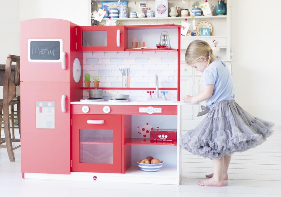 the plum terrace wooden play kitchen has a big american style fridge freezer - Play Kitchen