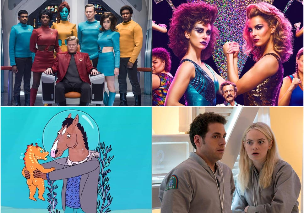 Clockwise: Black Mirror, GLOW, Maniac and Bojack Horseman