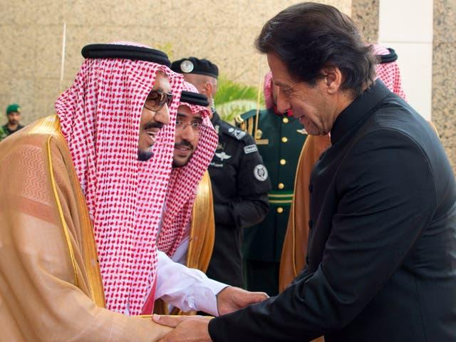 Saudi King Salman bin Abdulaziz Al Saud receives Pakistani prime minister Imran Khan in Jeddah