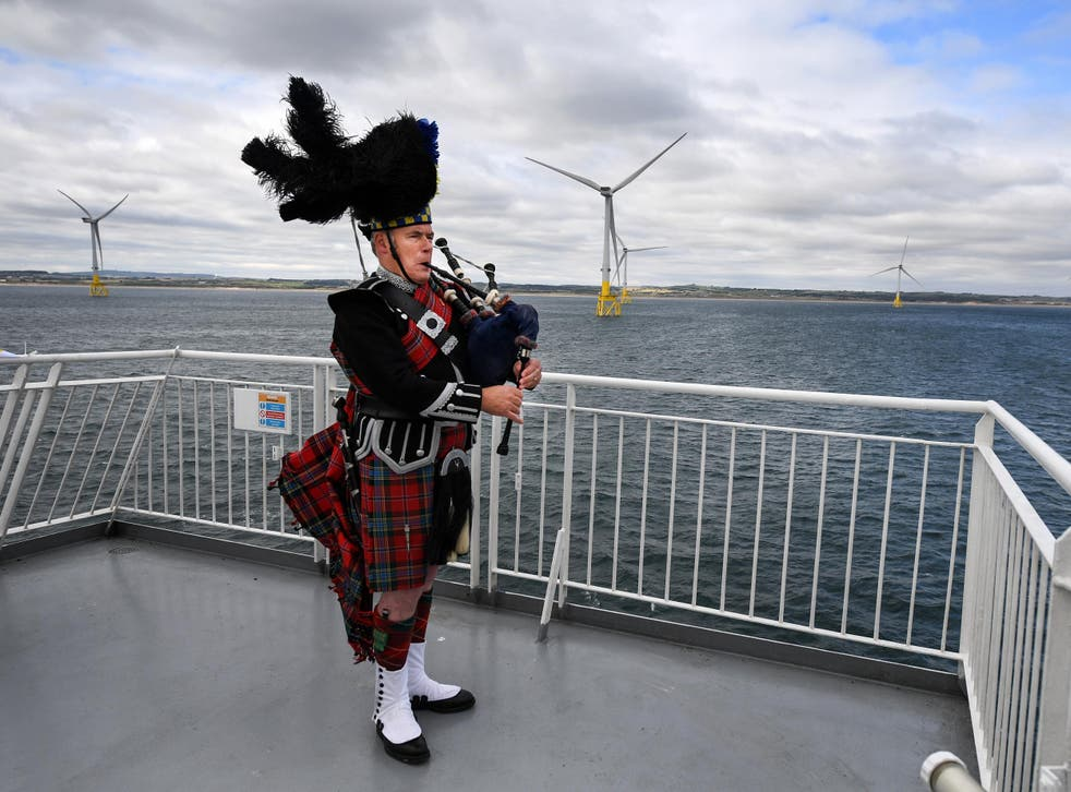 A piper at the launch of the European Offshore Wind Deployment Centre in Aberdeen Bay earlier this month
