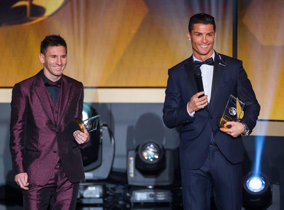 <p>Lionel Messi (left) and Cristiano Ronaldo at the Ballon D'Or Ceremony in 2015 </p>