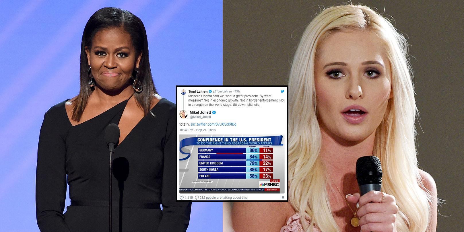 Tomi Lahren told Michelle Obama to 'sit down'. The internet responded  accordingly