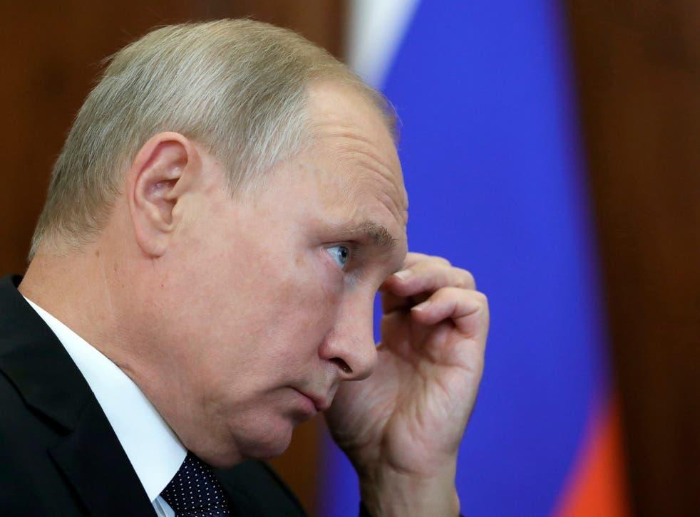 Russian president Vladimir Putin at a meeting on Tuesday