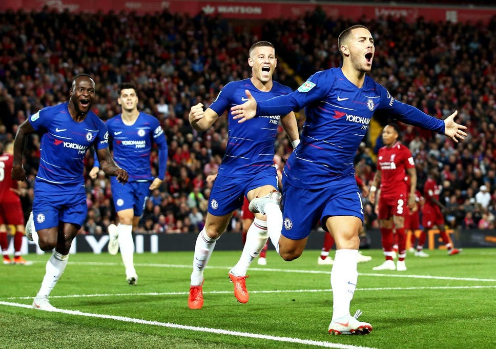 bfe837421 Eden Hazard s brilliant goal sends Chelsea past Liverpool and into ...