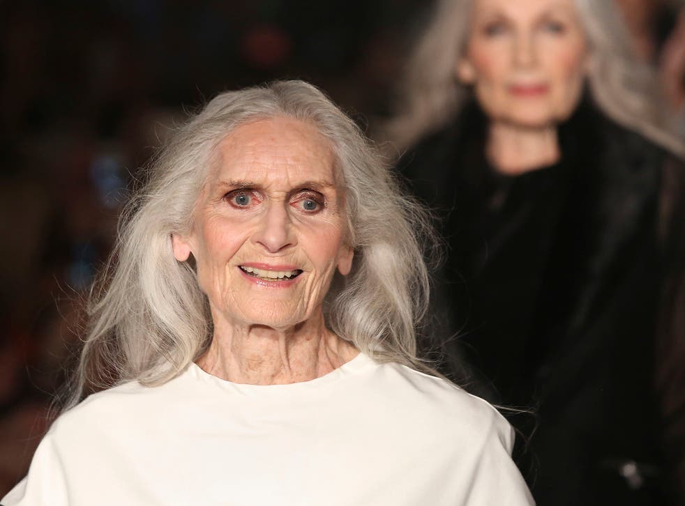 Daphne Selfe (left), 87, on the catwalk at the Fifty Plus Fashion Week at Cafe Royal in London, launched by retailer JD Williams.