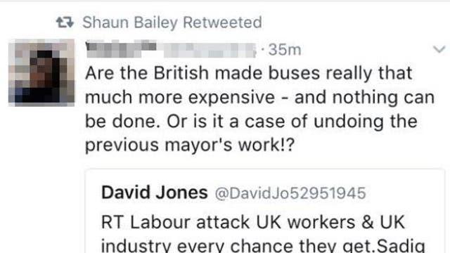 A retweet from London mayoral hopeful Shaun Bailey