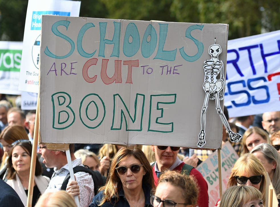 School leaders demanding extra cash for schools at a protest in September