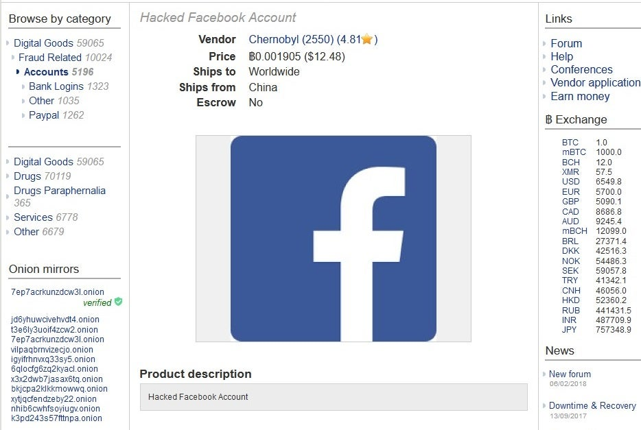 Facebook hack: People's accounts appear for sale on dark web