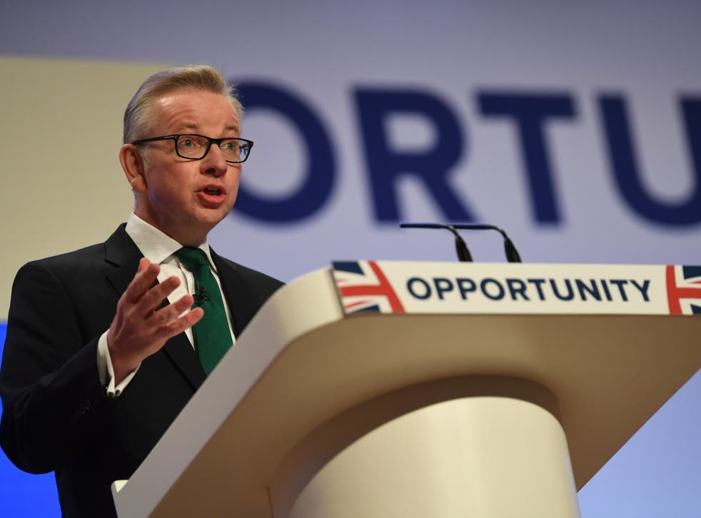 Michael Gove delivers his speech on the second day of the Conservative Party Conference in Birmingham
