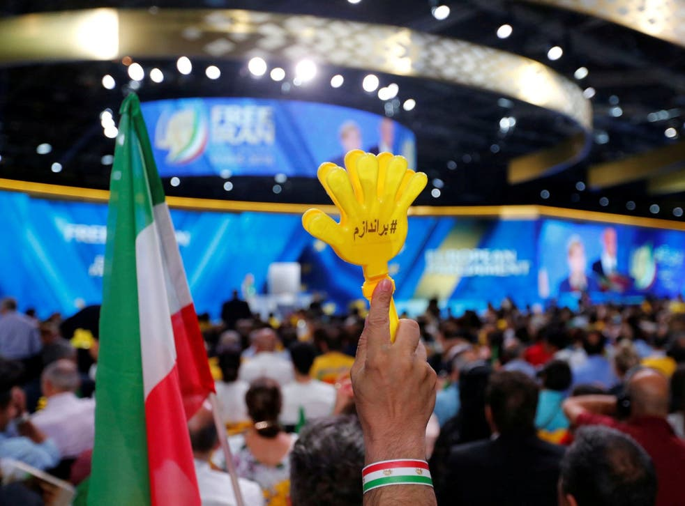 Supporters of Maryam Rajavi, president-elect of the National Council of Resistance of Iran (NCRI), attend a rally in Villepinte, near Paris, France, 30 June 2018